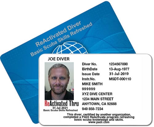 PADI ReActivate Example Card